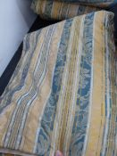 A PAIR OF LINED AND INTER LINED REGENCY STRIPE CURTAINS WITH PELMET.