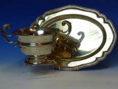 A SILVER HALLMARKED TWO HANDLED TROPHY BOWL ENGRAVED 1911, WEIGHT 263grms AND A SILVER HALLMARKED