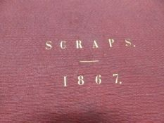 A VICTORIAN SCRAP ALBUM OF LARGE SIZE DATED 1867.