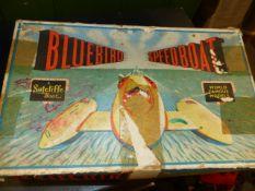 SUTCLIFFE BOATS- BOXED CLOCKWORK TINPLATE TOY MODEL OF BLUEBIRD SPEEDBOAT