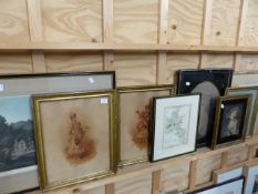 A COLLECTION OF FRAMED 19th.C.DECORATIVE PRINTS TO INCLUDE PORTRAITS AND TOPOGRAPHICAL SUBJECTS, ALL