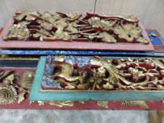 EIGHT CHINESE CARVED AND GILT FIGURAL PANELS OF VARYING SIZES, THREE FRAMED. (8)