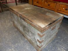 A VINTAGE PINE LARGE MILITARY BLANKET CHEST.