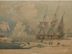 AFTER W.J.HUGGINS. NORTHERN WHALE FISHERY, HAND TINTED PRINT IN MAPLE FRAME. 42 x 61cms.