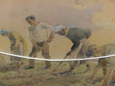 DAVID ROSE. (1871-1964) ARR. PLANTING, SIGNED WATERCOLOUR. 25 x 36cms TOGETHER WITH A VILLAGE