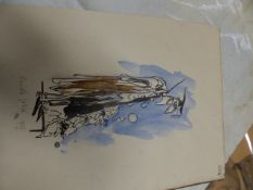 RONALD SEARLE. (1920-2011) ARR. THE MASTER, SIGNED AND DATED 1966, WATERCOLOUR, UNFRAMED. 32 x