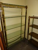TWO MID CENTURY CHROME AND GLASS TIERED DISPLAY STANDS, POSSIBLE BY MERROW ASSOCIATES. LARGEST. 91 x