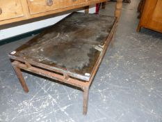 A MID CENTURY BRASS FRAMED GLASS TOP COFFEE TABLE. 107 x 56 x H.40cms.