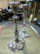 A PAIR OF HALLMARKED SILVER REPOUSSE DECORATED CANDLE STICKS BIRMINGHAM ASSAY MARKS, 1916,
