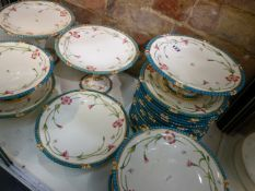 ATTRIBUTED TO MINTON, A DESSERT SERVICE DECORATED WITH PATTERN No.B3232 OF TURQUOISE BEADED RIMS