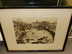 EARLY 20th.C.ENGLISH SCHOOL. A HARBOUR VIEW, INDISTINCTLY SIGNED ETCHING. 33 x 39.5cms.