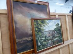 AN OIL PAINTING SAILING SHIP IN HIGH SEAS AND AN OIL PAINTING OF A COTTAGE.