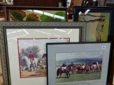 VARIOUS SPORTING PRINTS AND PICTURES.