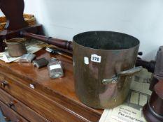 A LARGE ANTIQUE COPPER PAN, HIP FLASKS,ETC.