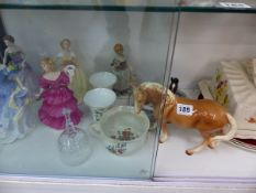 FOUR ROYAL DOULTON FIGURINES, TWO HORSE FIGURINES,ETC.