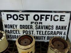A VINTAGE ENAMEL SIGN POST OFFICE.