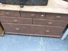 A VINTAGE PINE CHEST OF SIX DRAWERS.