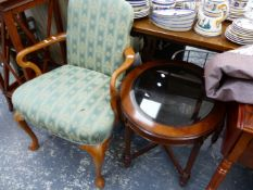 A GEORGIAN STYLE ARMCHAIR AND A GLASS TOPPED OCCASIONAL TABLE.