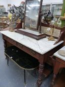 A GOOD QUALITY VICTORIAN MARBLE TOPPED TILE BACK WASHSTAND AND A SWING MIRROR.
