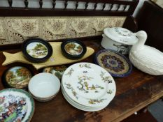 A SET OF LIMOGES PLATES AND OTHER CONTINENTAL CHINAWARES.