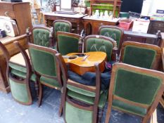 A SET OF TEN MAHOGANY DINING CHAIRS WITH BUTTON UPHOLSTERED BACKS.