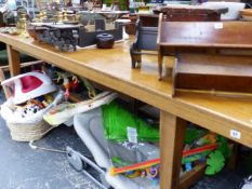 A LARGE FRENCH STYLE OAK REFECTORY OR FARMHOUSE TABLE.