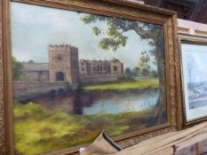 AN OIL ON CANVAS BROUGHTON CASTLE SIGNED WHITELY.