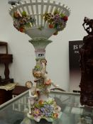 A PORCELAIN LATTICE WORK CHERUB AND FLORAL DECORATED COLUMN BOWL.