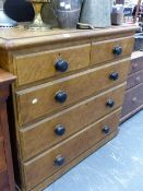 A VICTORIAN PAINTED PINE CHEST OF DRAWERS.