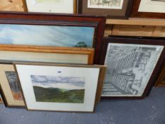 A QTY OF ANTIQUE AND LATER WATERCOLOURS, PRINTS AND PICTURES.