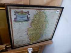 A ROBERT MORDEN MAP OF NOTTINGHAMSHIRE AND A WATERCOLOUR.