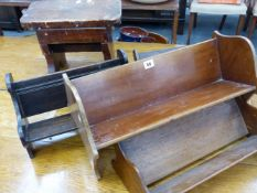 THREE BOOK TROUGHS AND A RUSTIC STOOL.