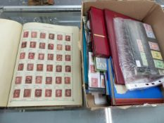 A BOX OF ASSORTED G.B AND COMMONWEALTH STAMPS IN ALBUMS, ON CARDS ETC.