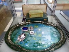 A MARBLE BOX, SILVER PLATE CRUET, CASED CUTLERY, A PATRICIA MACHIN TRAY, ETC.
