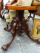 A LARGE EARLY VICTORIAN MAHOGANY BREAKFAST TABLE.