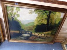 AN OIL ON CANVAS NAIVE SCHOOL SHEEP ON A RIVER BRIDGE SIGNED SEATON.