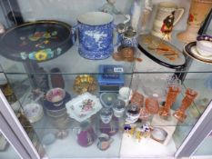 A PAIR OF VICTORIAN JUGS, STAFFORDSHIRE FIGURINES, GLASSWARES, NAO FIGURINES,ETC.