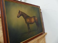 A LARGE OIL PAINTING STUDY OF A HORSE BY STEPHEN BISHOP AND A PRINT.