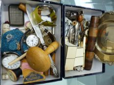 COLLECTABLES TO INCLUDE A VINTAGE CHANEL PERFUME BOTTLES CASED, POCKET WATCHES, IVORY, VINTAGE