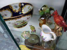 A ROYAL CROWN DERBY BUDGERIGARS, BESWICK BIRD FIGURES, A VICTORIAN BOWL,ETC.