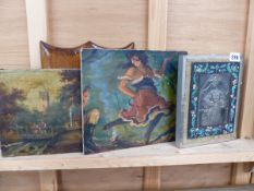 TWO OIL PAINTINGS AND A SIGNED DECORATIVE PEWTER PANEL.