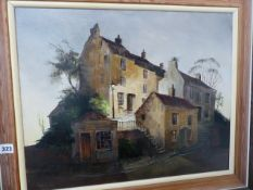 AN OIL PAINTING STILL LIFE SIGNED DEBORAH JONES.AND ANOTHER OF OLD HOUSES