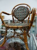 AN ANTIQUE FRENCH CHILDS CHAIR.