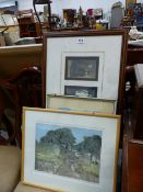 A LIMITED EDITION PRINT TWO BARNS BY TONY SLATTER TOGETHER WITH VARIOUS OTHER PRINTS.
