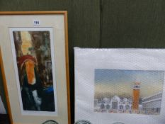 A LIMITED EDITION PRINT EVENING REFLECTIONS BY GINNY SANDEN TOGETHER WITH A WATERCOLOUR BY BRIAN