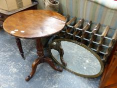 A 19th.C.TRIPOD TABLE, A WINE RACK, BRASS FRAMED MIRROR AND A CAMP BED.