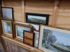 VARIOUS WATERCOLOURS, OIL PAINTINGS AND PRINTS.