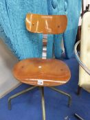 A BENTWOOD AND CHROME RETRO SWIVEL CHAIR.