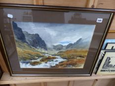 A WATERCOLOUR BY E GREIG-HALL AND VARIOUS PRINTS.