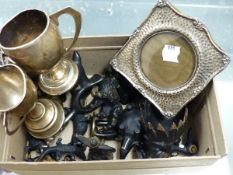 A SILVER HALLMARKED FRAME, TROPHY CUPS, AND MID C. BRONZE ANIMAL FIGURES ETC.